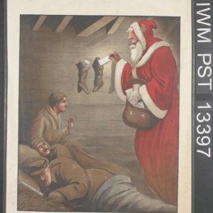 image of a British infantryman discovering Santa Claus in the barn where he is sleeping.