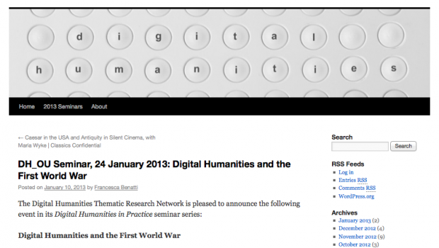 Screen Shot from Digital Humanities at OU blog
