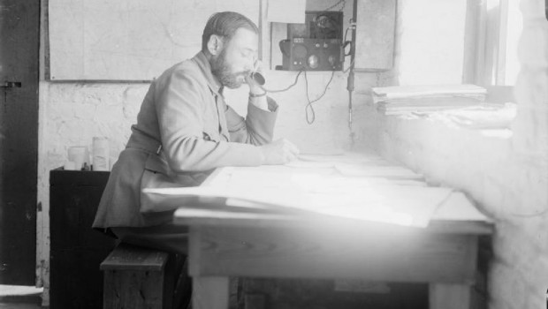 Belgian artillery officer in his office