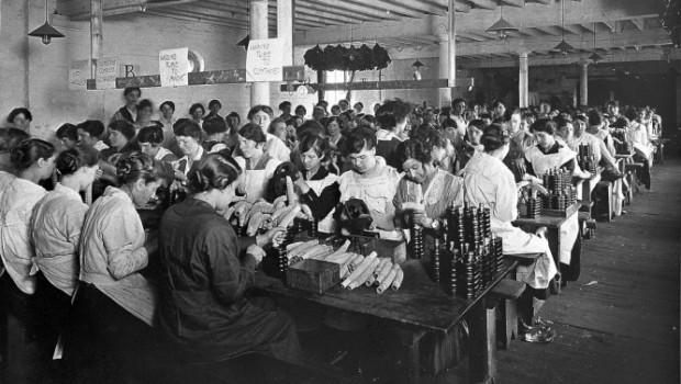 World War One: women factory worker. Stretcher bearers.